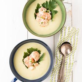 Chilled Corn Soup with Cajun Shrimp Salad