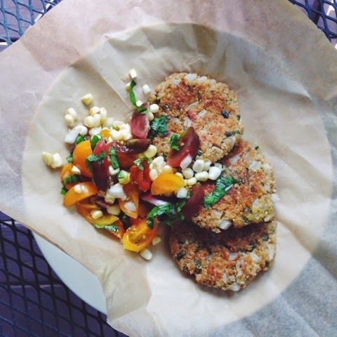 Sweet Onion & Corn Quinoa Fritters with Fresh Corn & Basil Salad