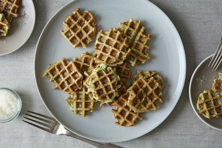 Waffled zucchini-parmesan fritters
