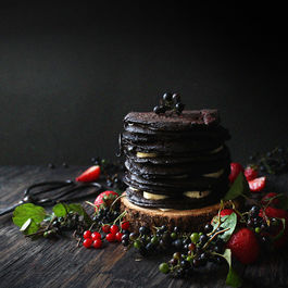 Chocolate Oatmeal Crepe Cake with Wild Grapes, Berries, and Bananas