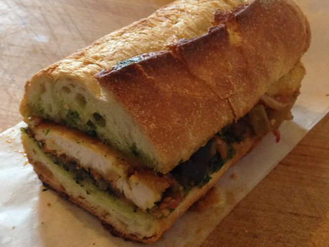 Parmesan-Crusted Chicken, Caponata, and Pesto Sandwich Recipe on ...