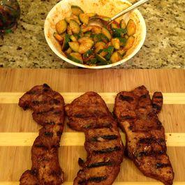 Pork Steak Bulgogi with Cucumber Kimchi