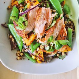 Red quinoa and garbanzo bean salad with salmon