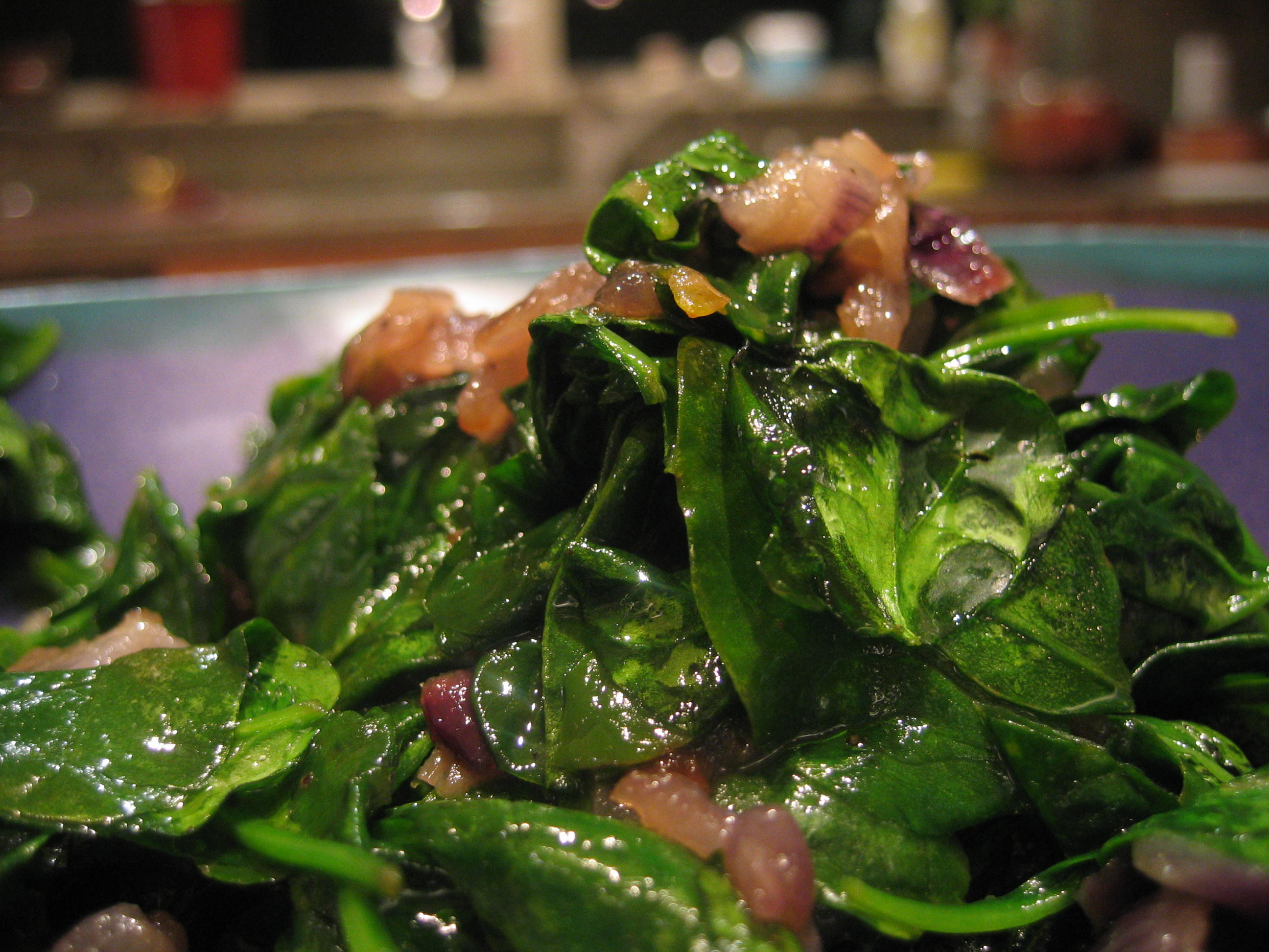 Wilted Spinach Salad w/ Balsamic Caramelized Red Onions