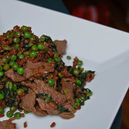 Sirloin Steak with Stir Fried Peas & Red Rice