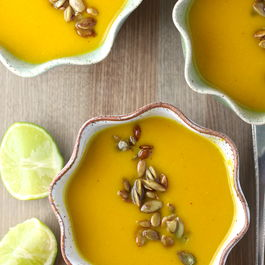 Red Kuri Squash Soup with Kimchi and Coconut Milk