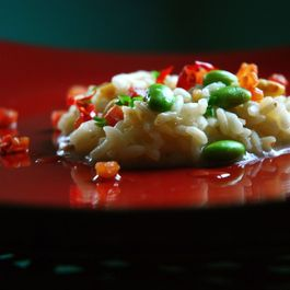 "Risotto ""Japanese Style"" with Edamame, Bacon and Toasted Pine Nuts"