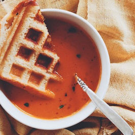 Tomato Soup & Saint Andre Waffled Grilled Cheese Sandwiches