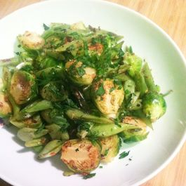 Brussels Sprouts & Romano Beans with Anchovy Butter