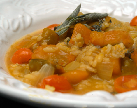 Pumpkin Risotto with Sage and Cherry Tomatoes
