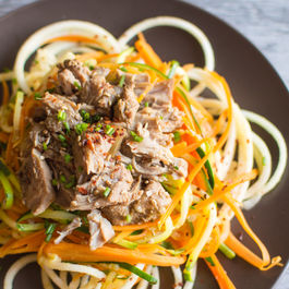 Asian Slow Cooker Pork with Vegetable & Apple Noodles