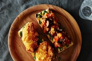 Parmesan-Crusted Chicken, Caponata, and Pesto Sandwich