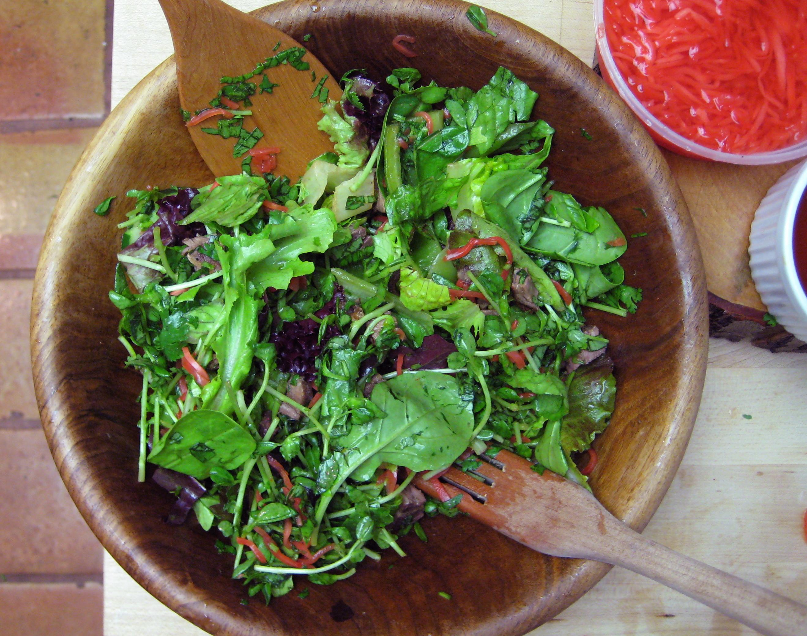 Leftover grilled steak salad with ponzu dressing