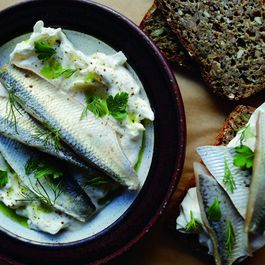 Pickled Herring with Sour Cream and Onion