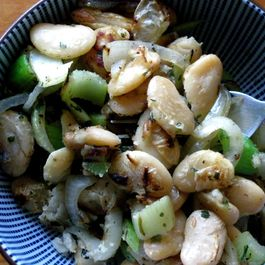 Sauteed butter beans with celery and onions