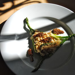 Baked Risotto with Morels and Asparagus