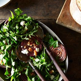Roasted Onion Salad with Arugula and Walnut Salsa
