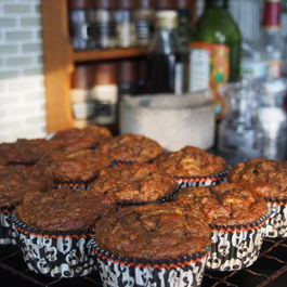 Spiced pumpkin and beetroot muffins