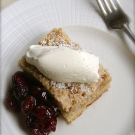 Lemon Anise and Cardamom cake with Balsamic Sour Cherry Sauce