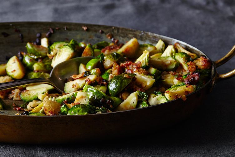 Roasted Brussels Sprouts with Pancetta and Garlic Croutons Recipe on ...
