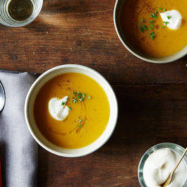 Thomas Keller's Butternut Soup with Brown Butter, Sage, and Nutmeg Crème Fraîche