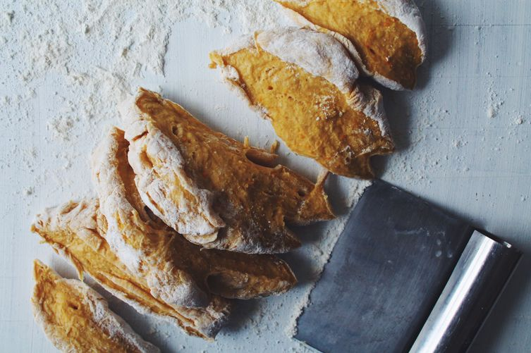 Cut the dough into six equal-sized pieces. Roll each piece into long ...