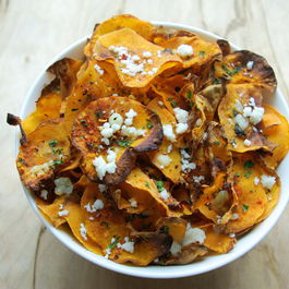 Baked Chipotle Butternut Squash Chips with Cilantro and Queso Fresco