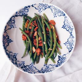 Green Beans with Chorizo and Toasted Almonds