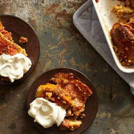 Persimmon Walnut Bread Pudding