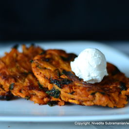 Sweet potato Latkes with wilted Fenugreek greens