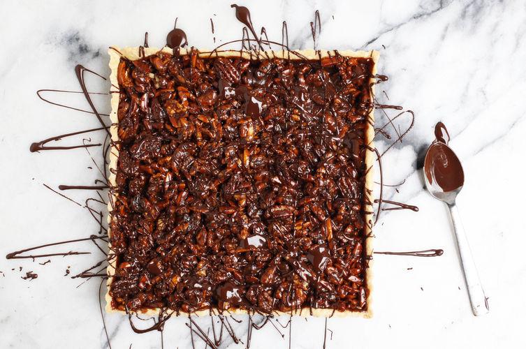 Caramel Nut Tart with Chocolate Recipe on Food52