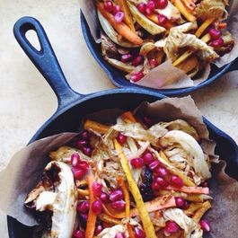 Roasted Carrot-Cabbage Slaw with Lemony Ras El Hanout Dressing and Pomegranate