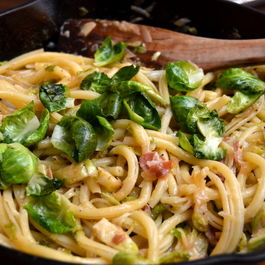 Pasta with Caramelized Shallots and Brussels Sprouts and Speck