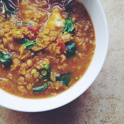 Turmeric-y Curried Red Lentil Stew with Fresh Ginger and Seasonal Greens (Vegan)