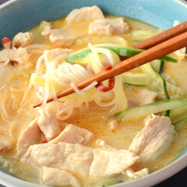 Lemongrass Chicken Noodle Soup with Cucumber