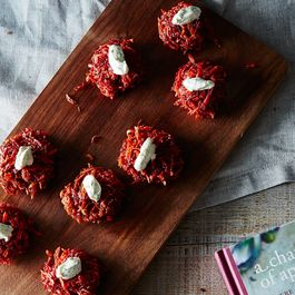 Beet and Carrot Fritters with Dill and Yogurt Sauce