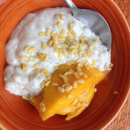 Coconut Tapioca Pudding with Mango and Roasted Mung Beans