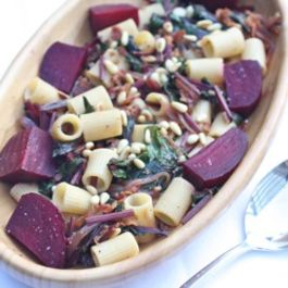 Pasta with Roasted Beets and Beet Greens