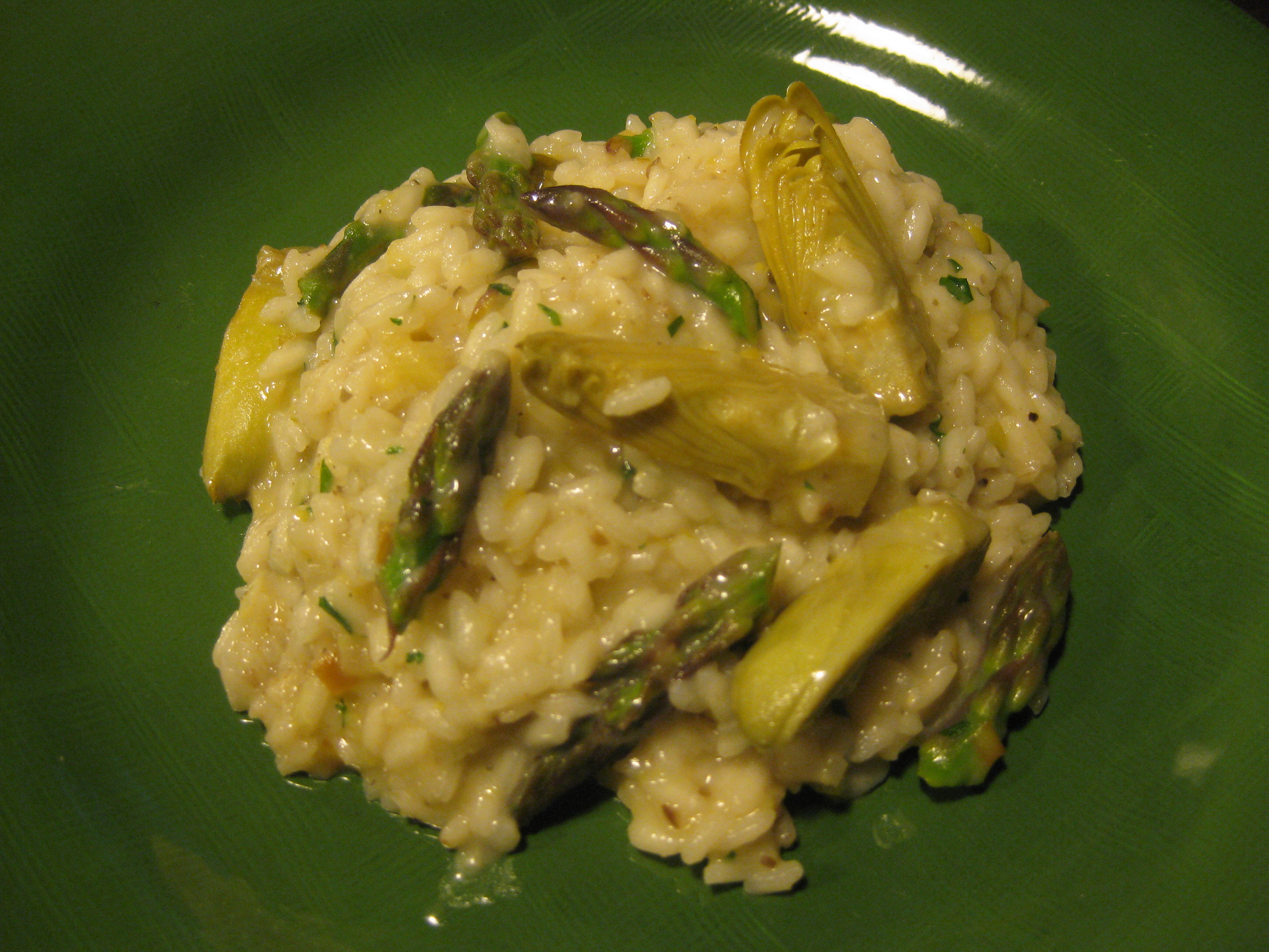 Early Spring Risotto with Fava Beans, Asparagus and Artichokes