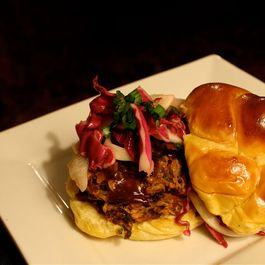 Pulled Pork Sandwiches with Cilantro BBQ Sauce and Fennel-Cabbage Slaw