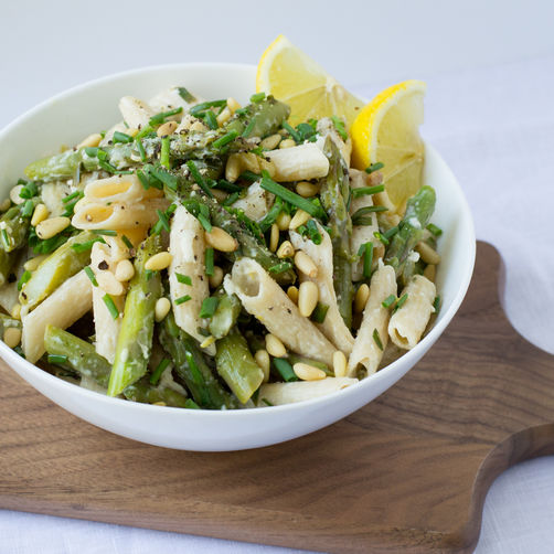 Asparagus, Goat Cheese & Lemon Pasta with Pine Nuts ...