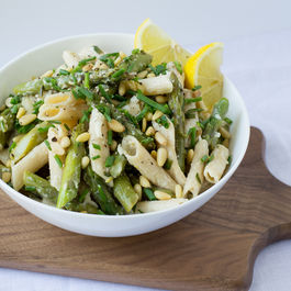 Asparagus__goat_cheese___lemon_pasta_with_pine_nuts___chives