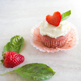 Strawberry Basil Cupcakes with White Chocolate Buttercream