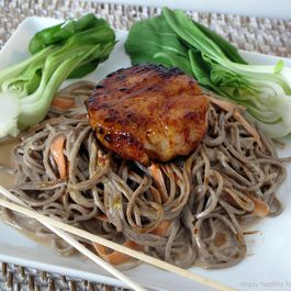 Tahini Soba Noodles with Jumbo Carmelized Sea Scallop