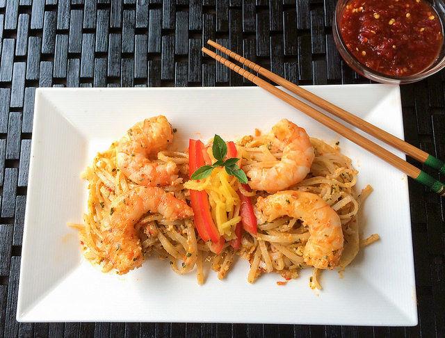 Thai Basil Pesto with Chili Garlic Shrimp