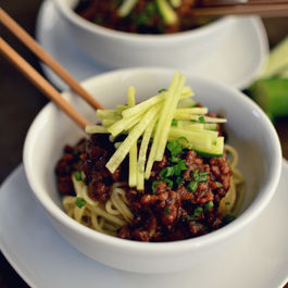 ZHA JIANG MIAN  (炸酱面, Chinese braised pork & shiitake noodles with cucumber)