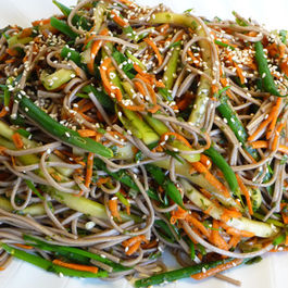 Mint and Scallion Soba Noodle Salad With Cucumber, Carrot & Green Bean Threads