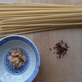 Bucatini with fermented tofu and szechuan peppercorn