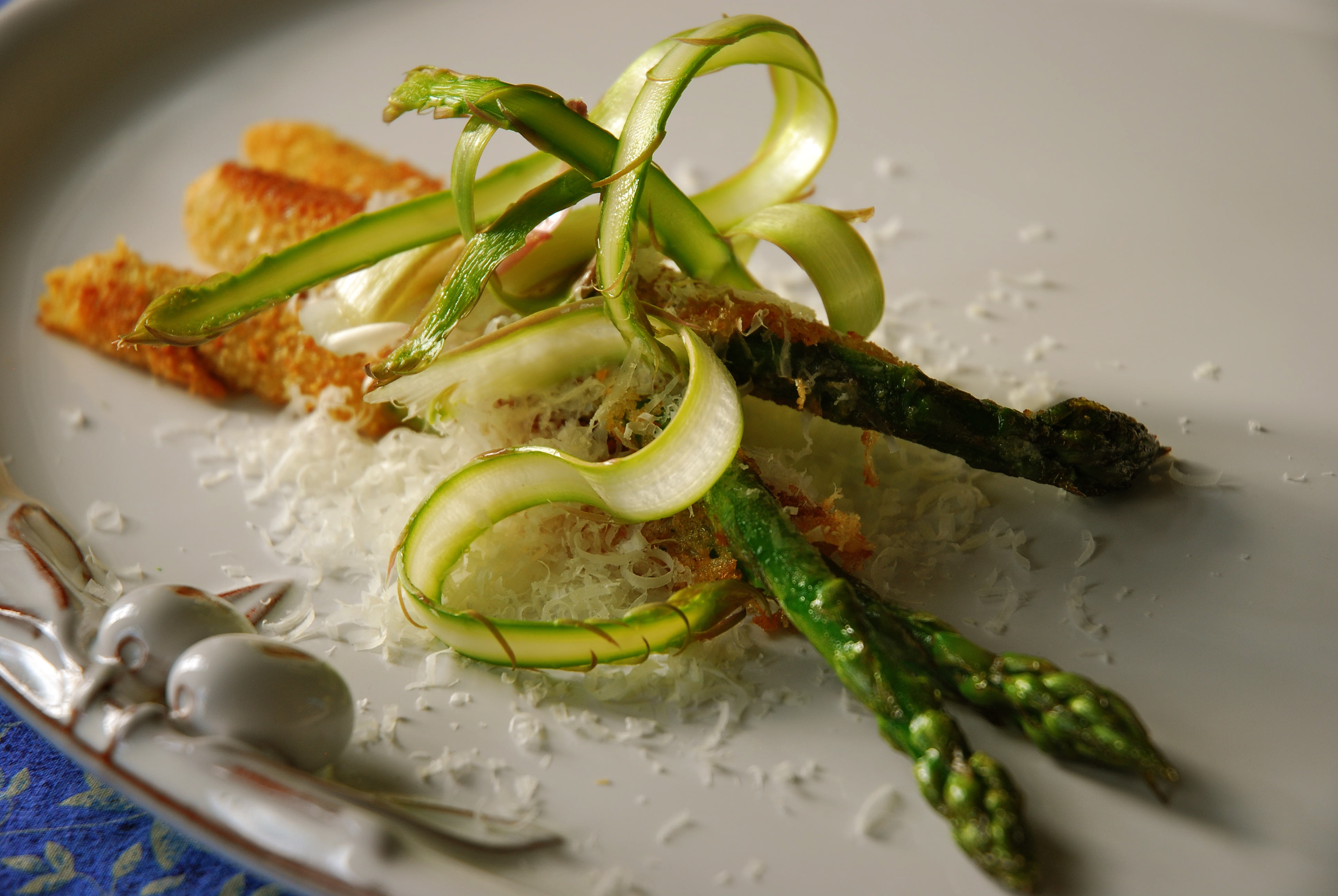 Pan Fried Asparagus with Parmesan, and Asparagus Ribbons