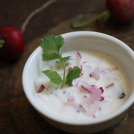 Radish Yogurt Raita with Fresh Coconut and Fried Spices
